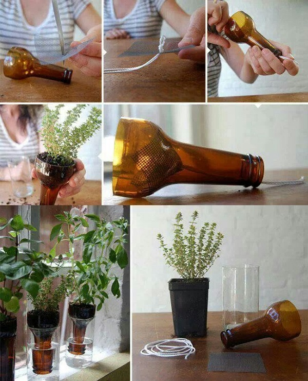 Wine Bottle Planters wonderfuldiy1 Wonderful DIY Cutting Glass Bottles for Self Watering Planter