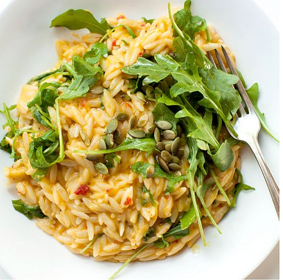 Spicy Chedder and Pumpkin Orzo