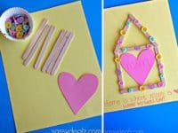 DIY popsicle stick and button Mother's Day card 200x150 15 Delightful and Fun Popsicle Stick Crafts for Kids!