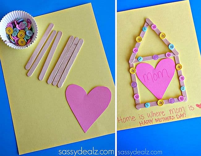 DIY popsicle stick and button Mother's Day card